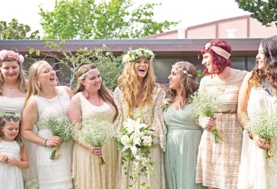 Bride and her bridesmaids at vintage Oakland wedding, Jackie Rutan Photography.