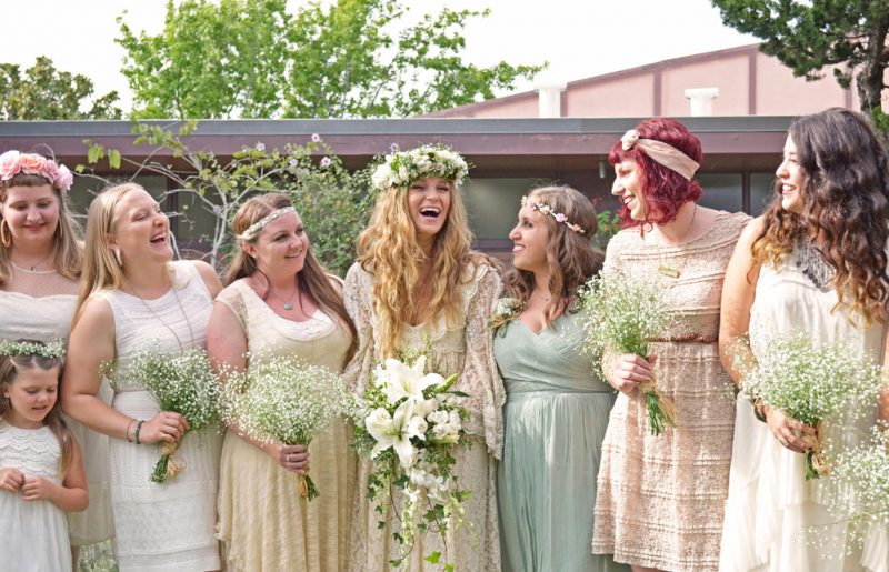 Bride with her bridesmaid at vintage wedding, photographed by Jackie Rutan Photography, Oakland.
