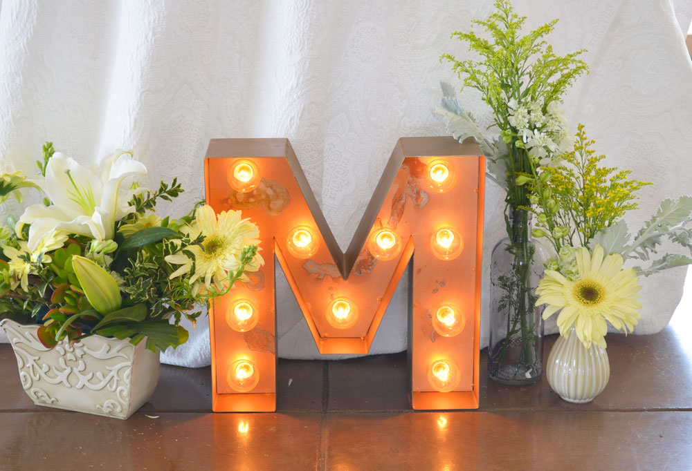 Light up marquee letter decor at Oakland wedding.